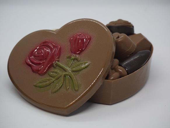 Boite coeur chocolat au lait, artisan chocolatier Beauvais Oise