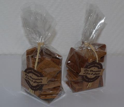 Mini tablettes chocolat blanc caramel et chocolat lait caramel