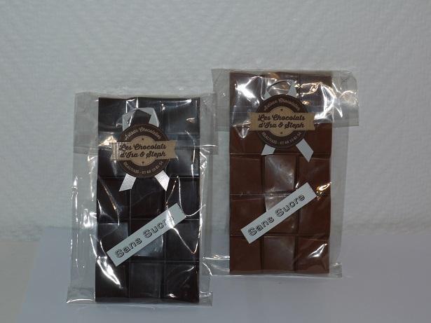 Tablettes lait noir sans sucre, artisan chocolatier Beauvais Oise