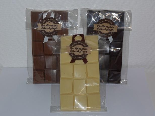 Tablettes natures chocolat blanc, lait et noir