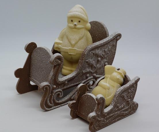 Traineaux avec sujets, chocolat artisanal Beauvais Oise